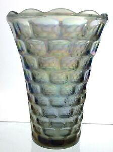 Vintage Federal Yorktown Carnival Glass Vase Iridescent Scalloped Edge T794