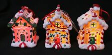 Christmas Ornaments - Led Lighted Gingerbread House Ornaments - Set of Three