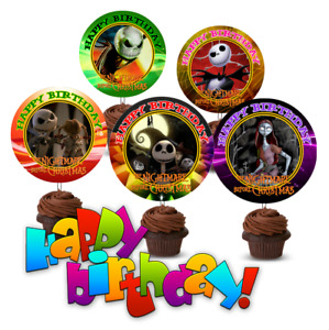 12 Birthday Nightmare Before Christmas Inspired Party Picks, Cupcake Toppers #1