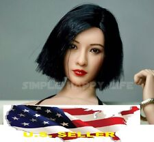 1/6 Asian woman head scuplt black short hair for phicen hot toys kumik US Seller