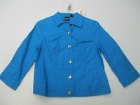 new RAFAELLA Jacket Women's Size S Button-Front Cotton Diva Blue