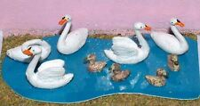 Waterfowl 3 Swans 3 Ducks L24p PAINTED O Scale Model 1/43 Animals Metal