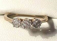 9CT Hallmarked Yellow Gold Natural Diamond Flower Cluster Dress Ring