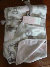 Dreamers Luxury Baby Blanket Zoo Animals Reversible White Pink Gray Lovey NEW