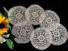 Set of 6 ANTIQUE HANDMADE NEEDLE LACE DOILIES Cup or Goblet Coasters WEDDING