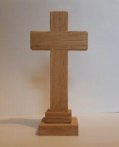 Oak cross.wooden self standing cross.Memorial. Small cross.Church Altar. Desktop