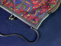 antike ABENDTASCHE Handtasche 1910/1920 mit farbenfroher expressiver Stickerei