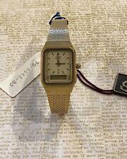 Vintage NOS Ladies Citizen Digi-Ana 8960 Alarm Chime Timer Watch Gold Water Resi