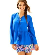 NWT Lilly Pulitzer Milan Silk Lace-up- Top  sz L Blue $168