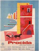 TRAVEL TOURISM PROCIDA NAPLES ITALY BOAT SEA HORSE POSTER ART PRINT BB2864B