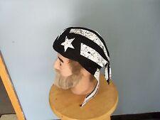 HEAD BAND DEW RAG BLACK AN WHITE AMERICAN FLAG  FLYDANNA HEADWRAPS