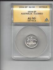 1934 ANACS AU50 Details (Cleaned) Australia George V Silver Six Pence! E0903