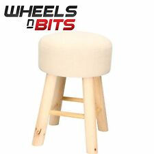 2x Shabby Chic Foot Stool Seat Chair Natural Wood Legs With Faux Off White