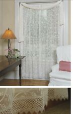 """Heritage Lace Coventry-45""""x95"""" Panel Floral with macrame trim- Ivory."""