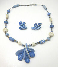 VINTAGE HANDMADE BLUE & WHITE CLAY FLOWER NECKLACE & EARRINGS *
