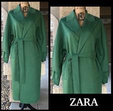 ZARA Women Size M 44% WOOL GREEN BELT COAT WITH FULL SLEEVES