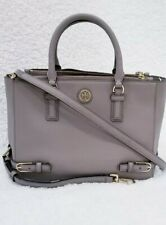 Tory Burch Robinson saffiano gray leather tote crossbody bag