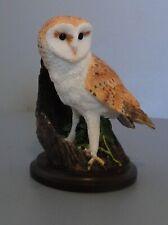 Chouette Effraie Barn Owl sculpté par Andy Pearce 2002 résine