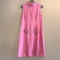 Vintage April Cornell 100% Silk Dress Embroidered Floral Women's Size Medium M