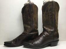 VTG MENS LUCCHESE 1883 SNIP TOE COWBOY BROWN BOOTS SIZE 8.5 D