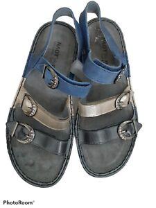 NAOT Lamego Sandals Size 37 Straps with Rhinestones Blue Sling back
