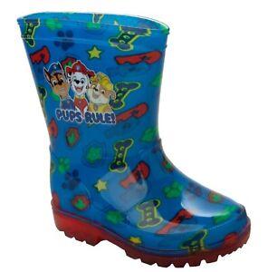BOYS PAW PATROL BLUE WELLIES RAIN WELLINGTON BOOTS KIDS WELLYS UK SIZE 6-12