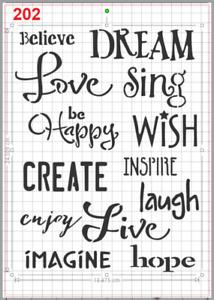 Inspirational Words Stencil MYLAR A4 sheet strong reusable Art Craft wall deco