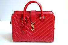 AUTHENTIC - YVES SAINT LAURENT Red Matelasse Quilted Cabas Monogram YSL Leather