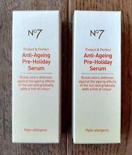 2 X Botas No7 anti-envejecimiento Pre-Cara de vacaciones (2 X 30ml) sérica proteger y perfecto