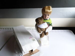 NEW WITH TAGS AND BOX PORCELAIN DOLL JOSH&TEDDY COLLECTORS