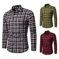 Mens Dress Shirts Slim Fit Long Sleeves Plaids Checks Business Multicolor EK6541
