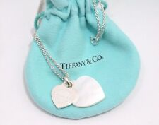Tiffany & Co. Silver Return To Double Heart Shell Shell Mother Of Pearl Necklace
