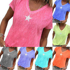 Women's Star Printed V-Neck Short Sleeve T-Shirt Casual Blouse Ladies Tee Tops