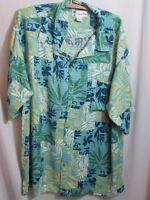 Island Blue Hawaiian Mens Shirt Blue Green Pocket Vintage Rayon Tribal Print XL