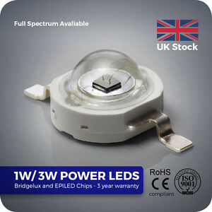 1W 3W High Power LED component Bridgelux chip PCB for Grow Aquarium Light SMD UV