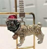 Pug Dog Key Chain Christmas Holiday Winter by Lauren Spencer NEW