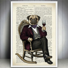 PUG DRESSED DOG ANIMAL WINE RETRO PRINT PICTURE VINTAGE DICTIONARY STYLE PAGE