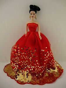 The Most Amazing Red Dress with Lots of Gold Sequins Made to Fit the Barbie Doll