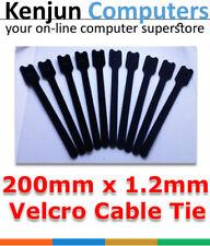 20pcs Hook Loop Reusable Cable Ties Brand New Black - 20cm Long