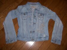 ABERCROMBIE & FITCH AUTHENTIC VINTAGE JEAN JACKET LARGE SILVER EMBROIDER GIRLS