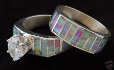 Kristen Cowboy Opal Ring Set with Cubic Zirconium Navajo Handmade