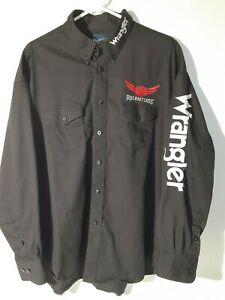 Wrangler B Relentless  Mens XXL Black/Red/ Embroidered Spellout Cowboy Shirt