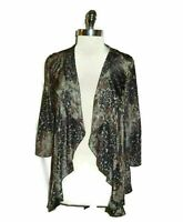 NEW JAIPUR Size L Jacket Cardigan Top Brown Animal Print Stretch Knit