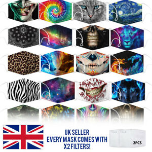 Reusable Washable Face Mask Protect Fashion Design nose clip Adult UK X2 FILTERS