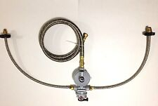 "Propane Regulator 2 way Automatic Changeover Stainless Braided Hose 7' 1/2"" hose"
