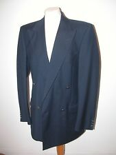 VINTAGE 1990'S NAVY LIGHTWEIGHT WOOL/MOHAIR 'JAEGER' DOUBLE BREASTED JACKET  38L