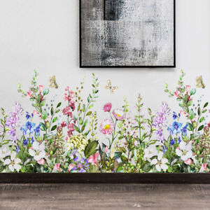 PVC Floral Pattern Art Wall Stickers Decals Murals Living Room DIY Home Decors