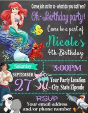 Little Mermaid Ariel Birthday Party Invitations Invites Personalized Custom