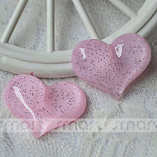 10PCS Pink Heart Transparent Resin Flatback Cabochon For Craft Decor 3.2x2.6cm