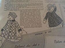 """PATRON ORIGINAL POUR LA POUPEE """" BLEUETTE MANTEAU REVERSIBLE  MARS 1933"""